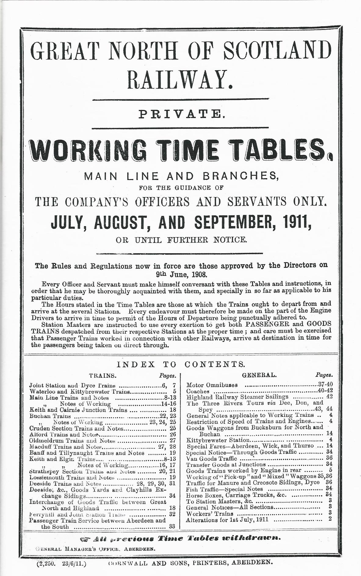 Image for Great North of Scotland Railway - Replica 1911 Working Time Table