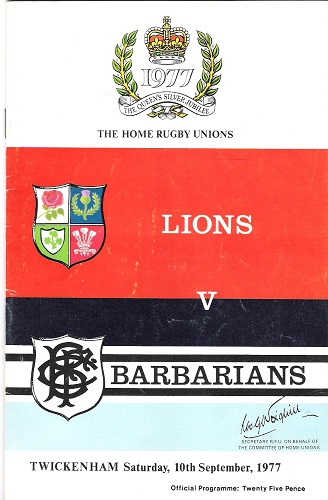 Image for The Home Rugby Unions Lions v Barbarians: The Queen's Silver Jubilee Programme.