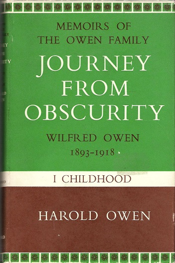 Image for Journey From Obscurity: Wilfred Owen 1893-1918 - I Childhood.