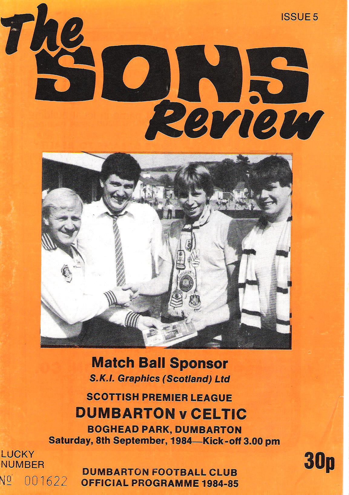Image for The Sons Review: Dumbarton FC Official Programme 1984-85.