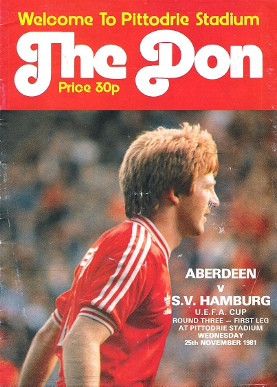Image for The Don Matchday Magazine. Aberdeen v S.V. Hamburg on Wednesday 25th November 1981.
