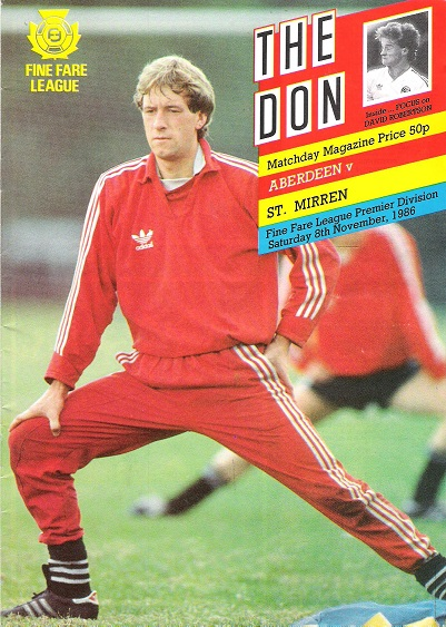 Image for The Don Matchday Magazine.  Aberdeen v. St. Mirren, Fine Fare League Premier Division, Saturday 8th November 1986.