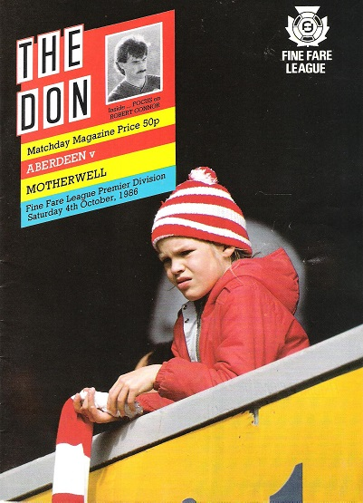 Image for The Don Matchday Magazine.  Aberdeen v. Motherwell, Fine Fare League Premier Division, Saturday 4th October 1986.