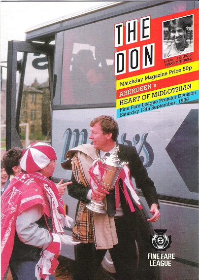 Image for The Don Matchday Magazine.  Aberdeen v. Heart of Midlothian, Fine Fare League Premier Division Saturday 13th September 1986.