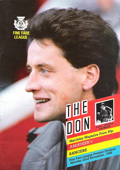 Image for The Don. Matchday Magazine.  Aberdeen v. Rangers. Fine Fare League Premier Division Sat. 22nd November 1986.
