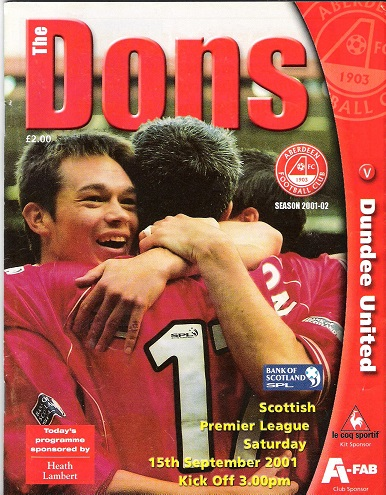 Image for The Dons. Official matchday magazine. Scottish Premier League, Aberdeen v. Dundee, Saturday 15th September 2001.
