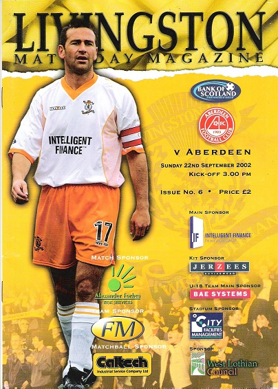 Image for Livingston Matchday Magazine. Livingston v. Aberdeen  Sunday 22nd September 2002.
