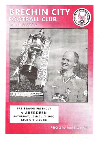 Image for Brechin City Football Club Programme Pre-season Friendly v. Aberdeen Saturday 13th July 2002.
