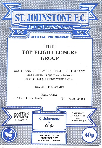 Image for St Johnstone F.C. Official Programme, The One Hundredth Season, Premier League Match, Saturday 3rd December 1983. St Johnstone v. Celtic.