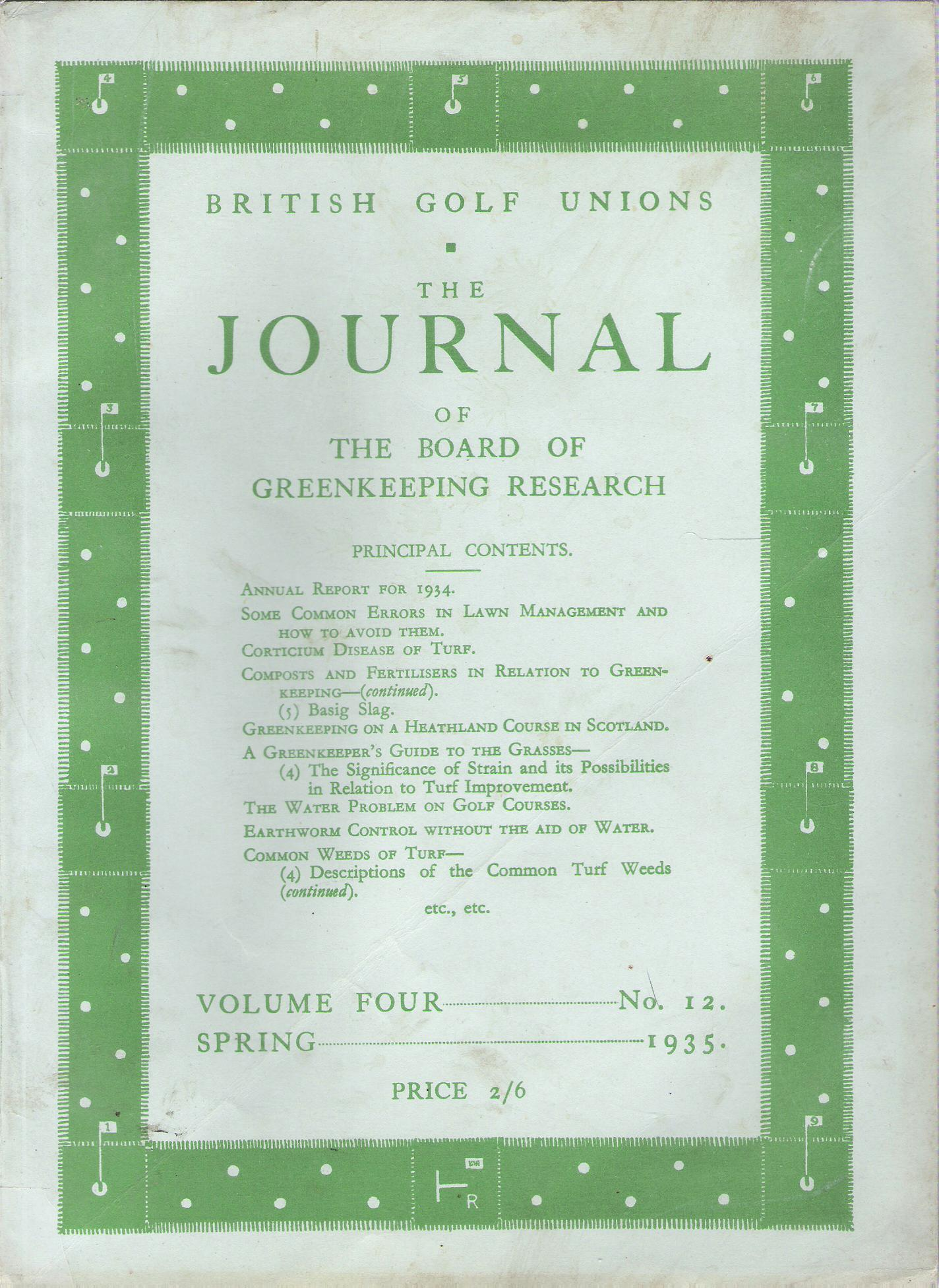 Image for British Golf Unions: The Journal of the Board of Greenkeeping Research, Volume IV, number 12.