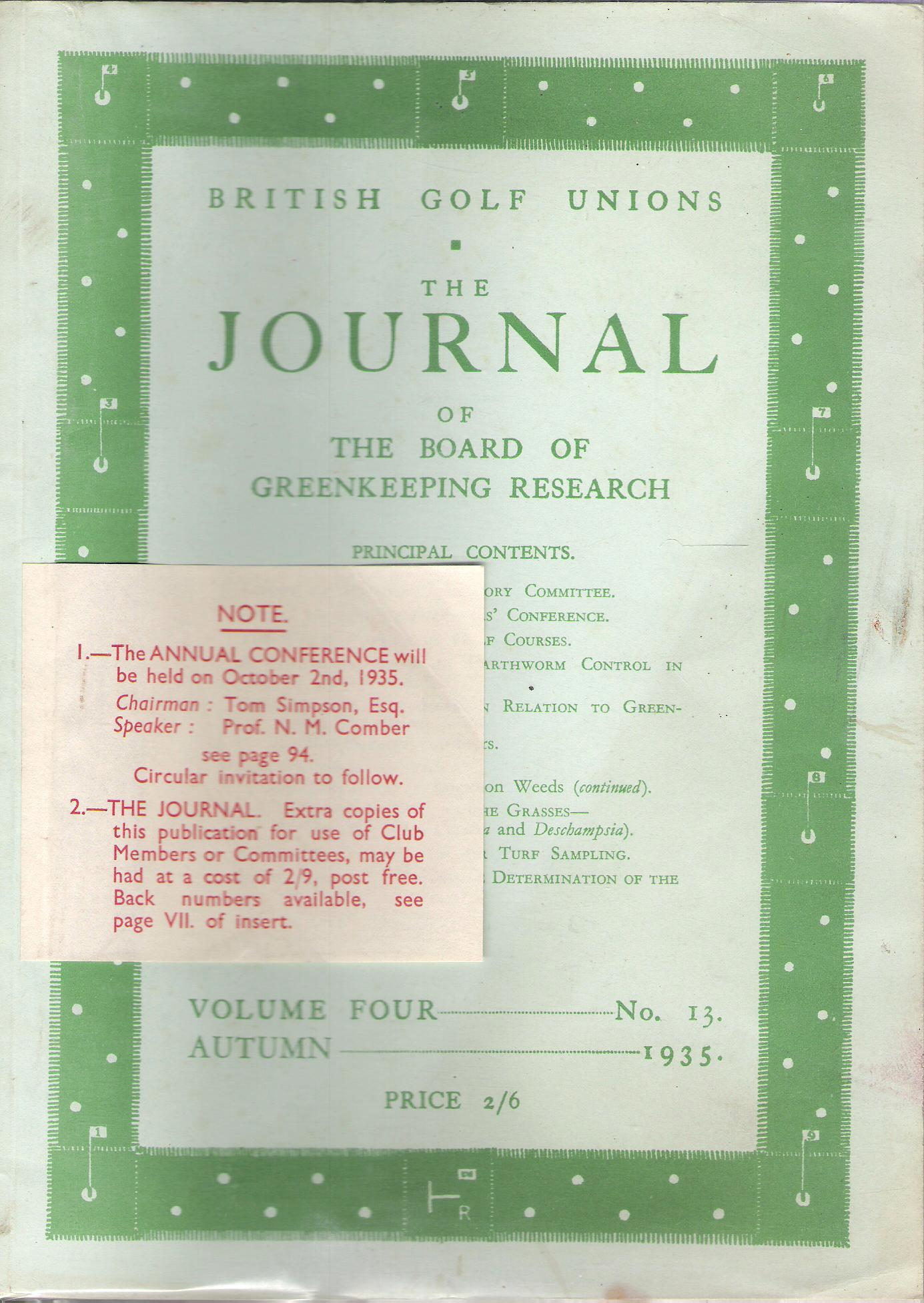 Image for British Golf Unions: The Journal of the Board of Greenkeeping Research, Volume IV, number 13.