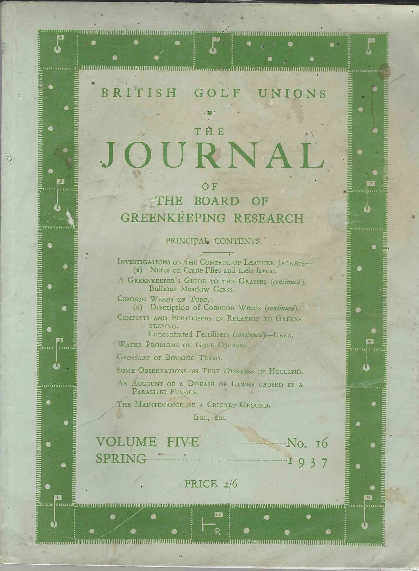 Image for British Golf Unions: The Journal of the Board of Greenkeeping Research, Volume V, number 16.