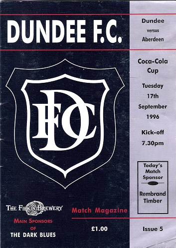 Image for Dundee F.C. Match Magazine Dundee v. Aberdeen Tues.17th September 1996.