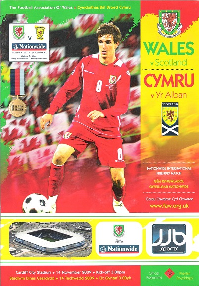 Image for Wales v. Scotland Matchday Magazine. Nationwide International Friendly Match 14 November 2009.