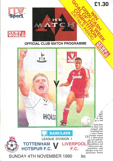 Image for Official Club Match Programme for Tottenham Hotspur F.C. v. Liverpool F.C. Sunday 4th November 1990.