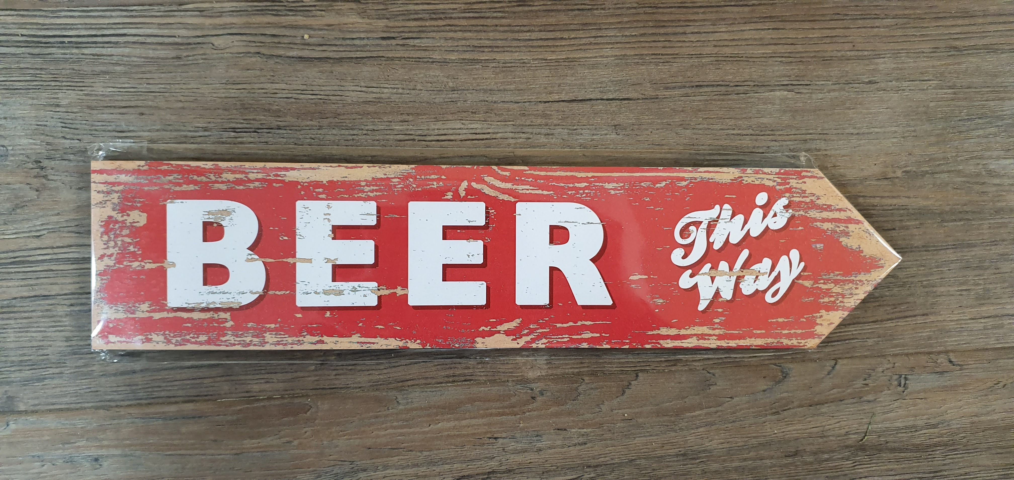 "Image for Vintage Style ""Beer This Way"" Sign"