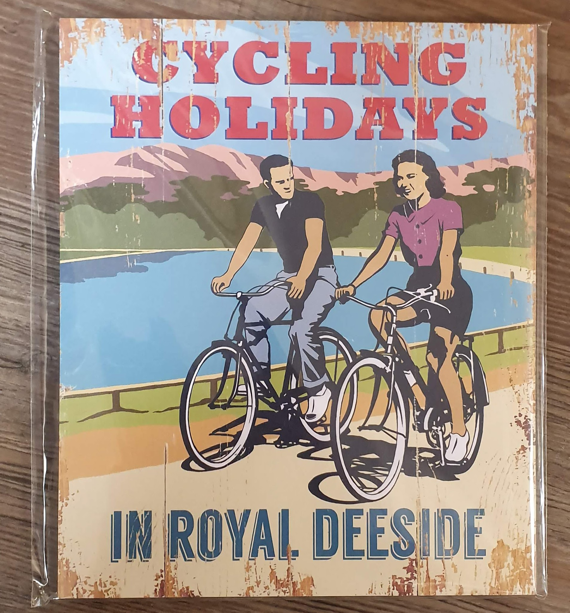 "Image for Vintage Style ""Cycling Holidays in Deeside"" Sign"
