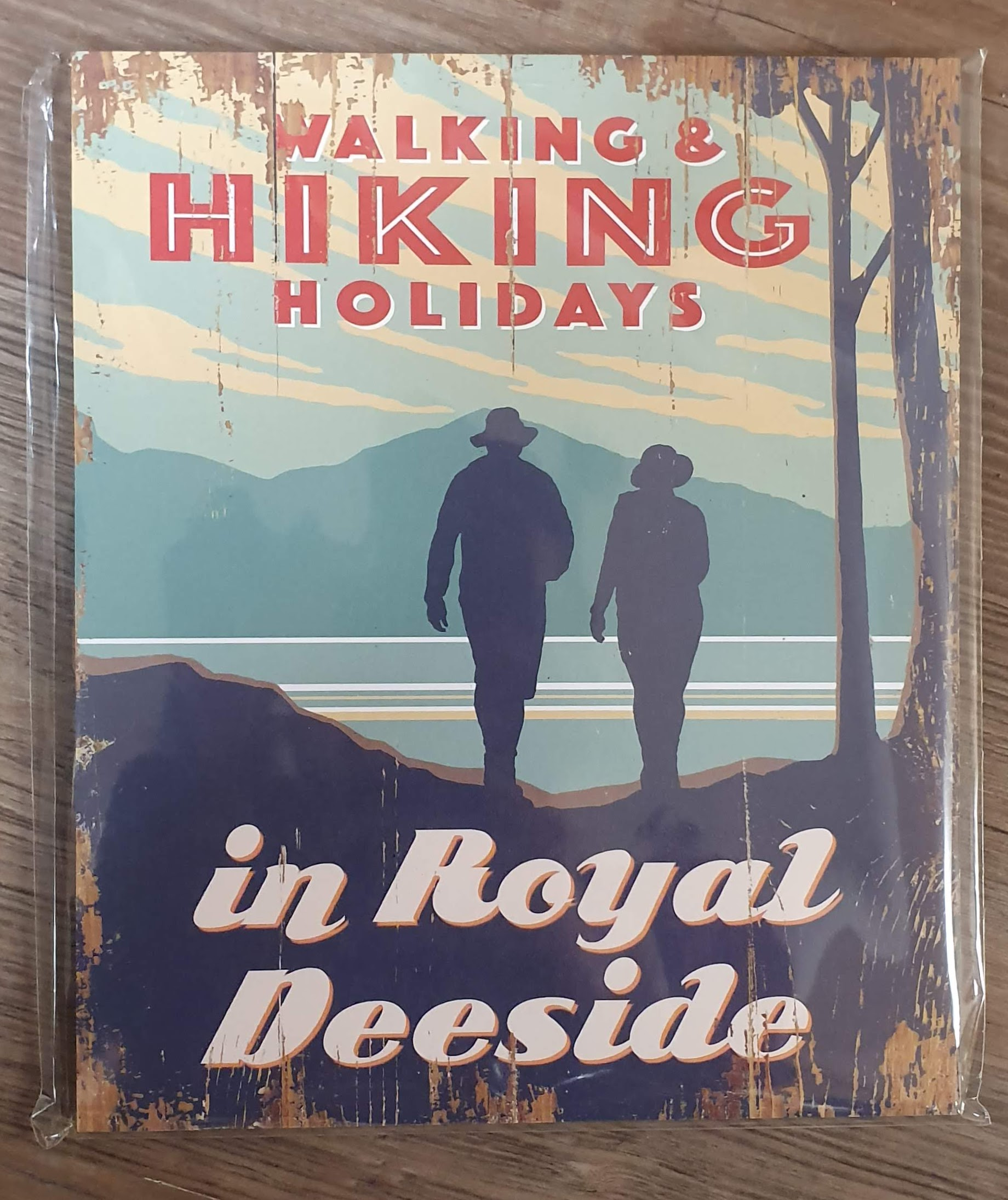 "Image for Vintage Style ""Walking & Hillwalking Holidays in Royal Deeside"" Sign"