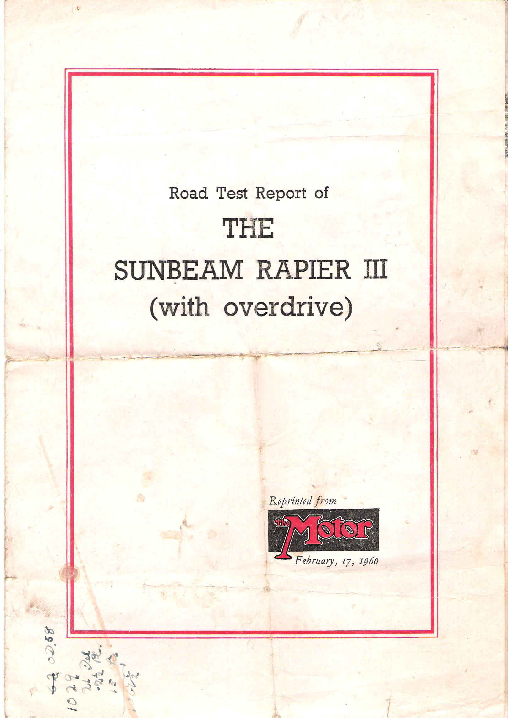 Image for Road Test Report of the Sunbeam Rapier III (With Overdrive).