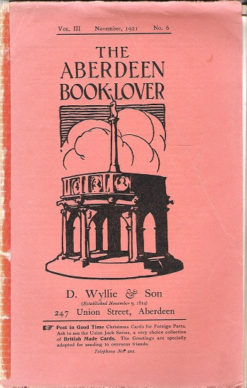 Image for The Aberdeen Book Lover: Volume III November 1921 No. 6.