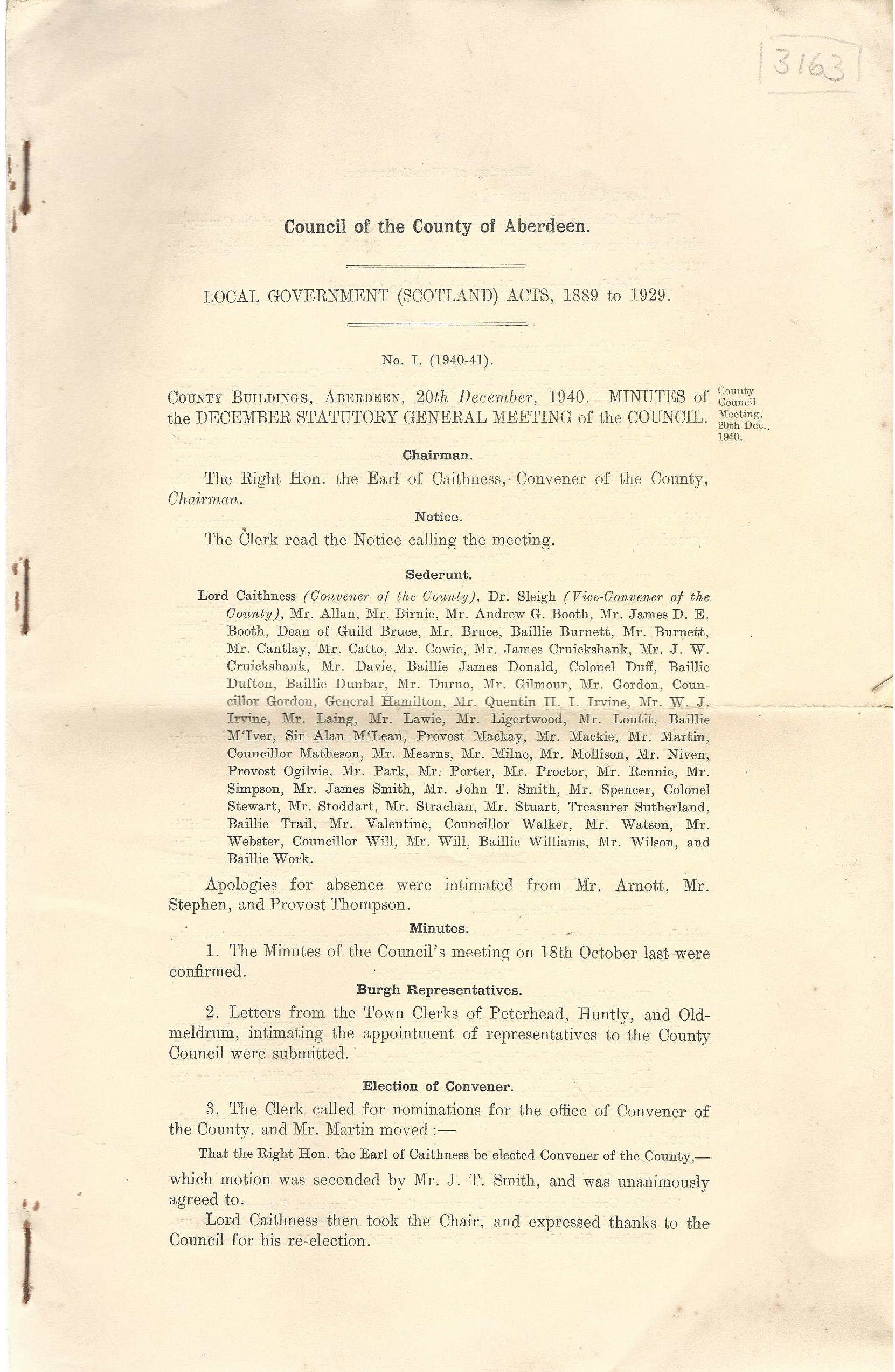 Image for Minutes of December Statutory General Meeting, 20th December, 1940, No.1 & 2.