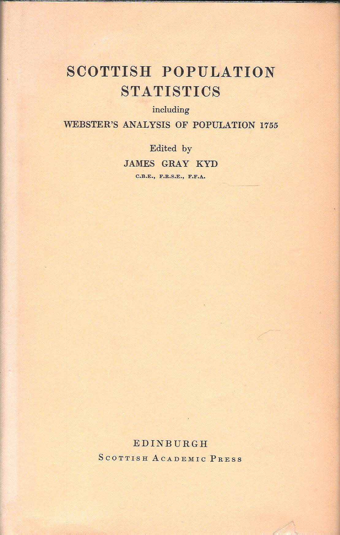 Image for Scottish Population Statistics: Including Webster's Analysis of Population 1755.